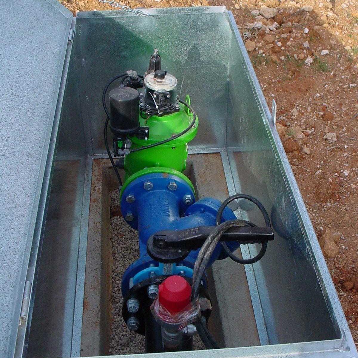 CASETA CONTADOR - valvula hidrauliuca contadora,reguladora de presion automatizada - filtro cazapiedra