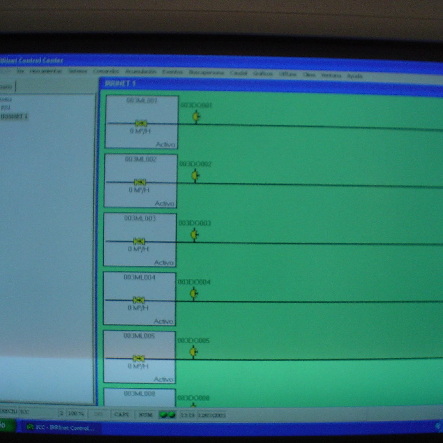pantalla de control